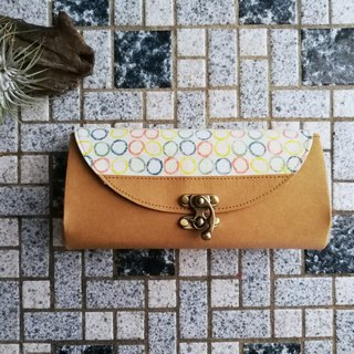 [Natural seal series] papaya leaf stem 4 color circle organ wallet / long clip