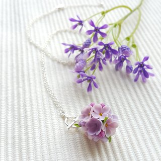 Lovely Clay Flower Necklace (Purple)