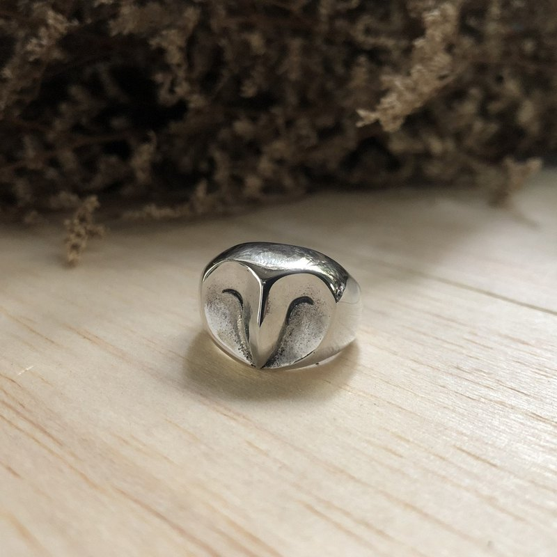 owl Bird Biker Ring Skull sterling silver Celtic old school Vintage cute animal