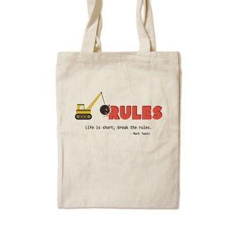 Break The Rules - Painted Canvas Bag