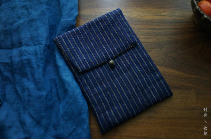 Dark blue striped hand-woven cloth buckle quilted inner liner Kindle idiot iPad mini protective shell notebook
