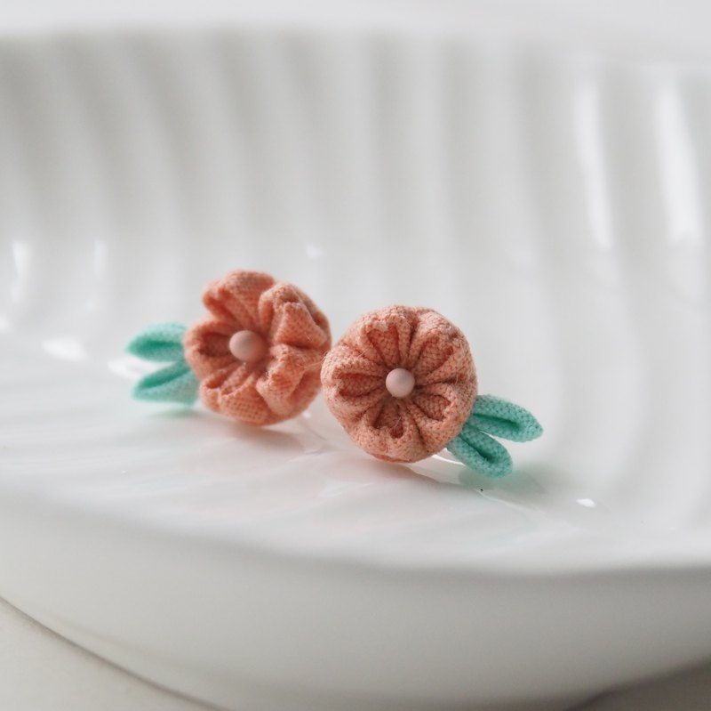 Pink-orange Cherry Blossom Sakura stud Earrings Clip-on 14KGF, S925 custom