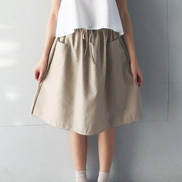 Basic Skirt-Beige