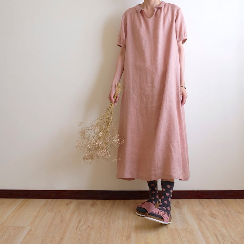 Everyday hand-made clothes come in the summer, pink beige pills, loose body dress linen