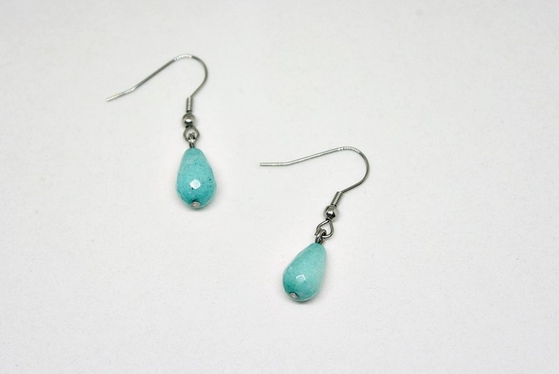 Stainless steel X natural stone hook earrings <秀气蓝> #玉髓