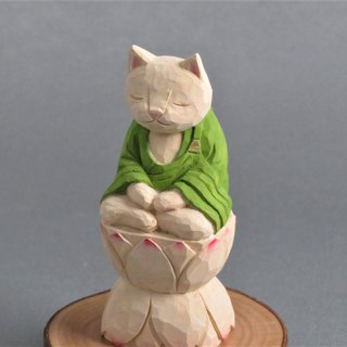 Wood carving cat, such as the Buddha Zen meditation031121