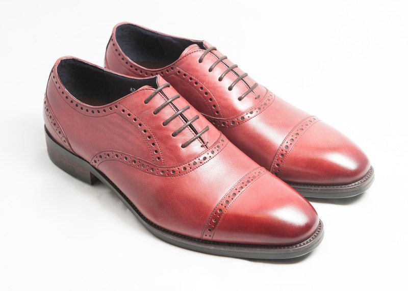 Hand-painted calfskin wood with Capetop carved oxford shoes - wine red - free shipping - E1A18-79