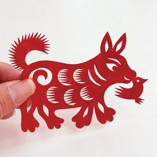 Dog with guitar (chicken) paper cut go02