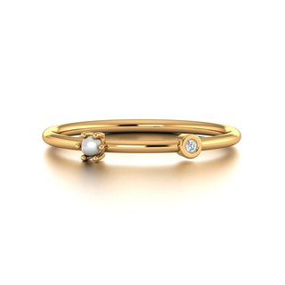 【PurpleMay Jewellery】18k Yellow Gold Pearl Diamond Thin Ring Band R013