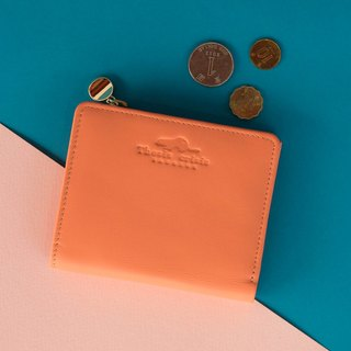 PEONY - SMALL WALLET/COIN PURSE MADE OF SOFT COW LEATHER FROM ITALY-PINK/ORANGE