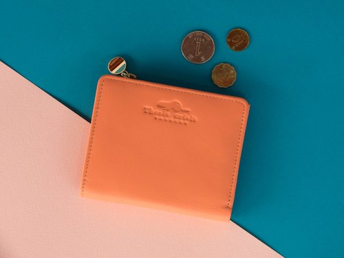 SMALL WALLET/COIN PURSE MADE OF SOFT COW LEATHER FROM ITALY-PINK/ORANGE
