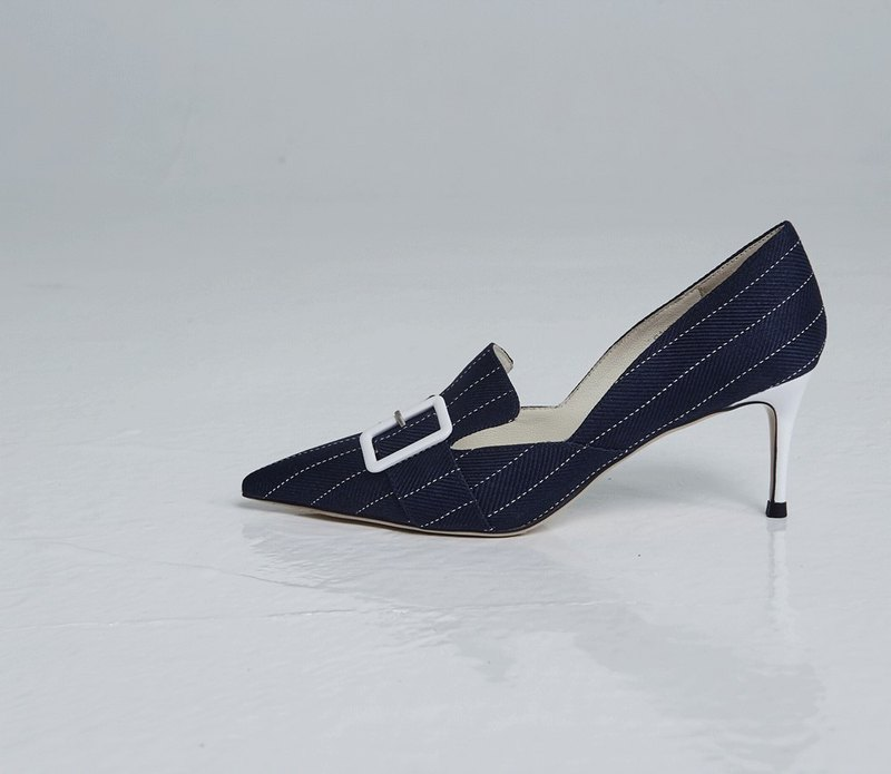 Patchwork buckle head dug high heel dark blue