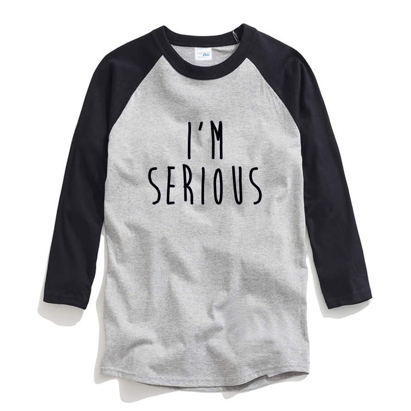 IM SERIOUS unisex 3/4 sleeve gray/black t shirt