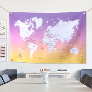 Customized world map tarpaulin wall twilight hope