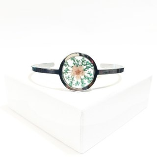 Stainless Steel Framed Bangle(Stainless Steel Transparent Flower Bangle)