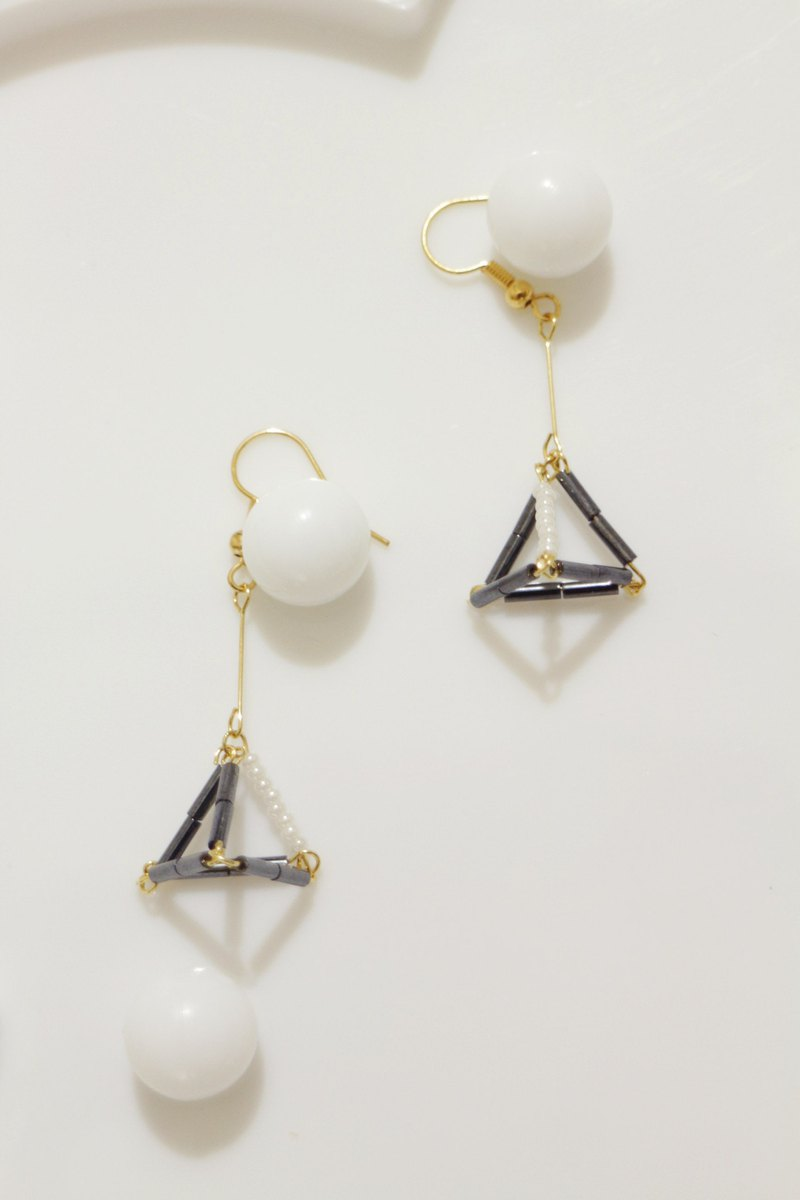 Cosmic Small Triangle Dangle Earrings - Black and White