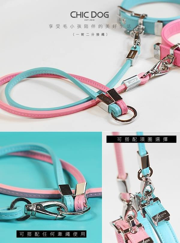 [CHIC DOG] leather leather leash leather feel one pair two rope