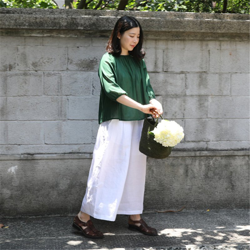 [Rolling cloth for clothes] Summer pure linen trousers wide leg pants white