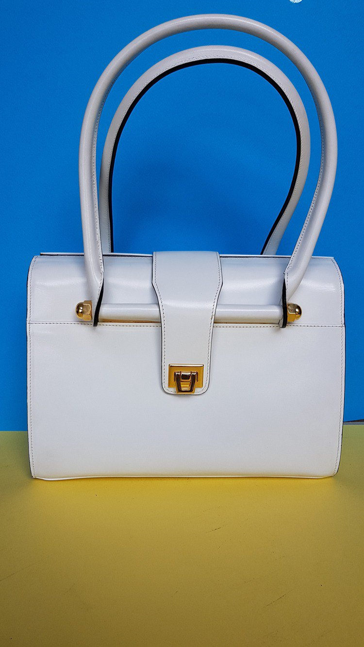 White leather ladies' handbag.