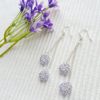 Double Hanging Crystal Earrings (Light Purple)