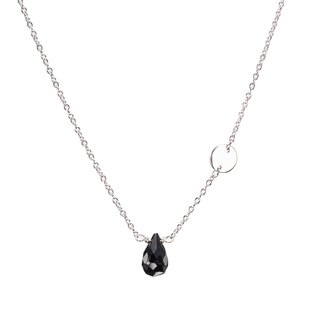 Black Obsidian Silver Necklace, Black Stone Pendant, Crystal Jet Stone Jewelry