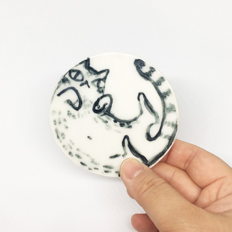 <<Huh?>> handmade and hand drawn cat graphic porcelain coaster