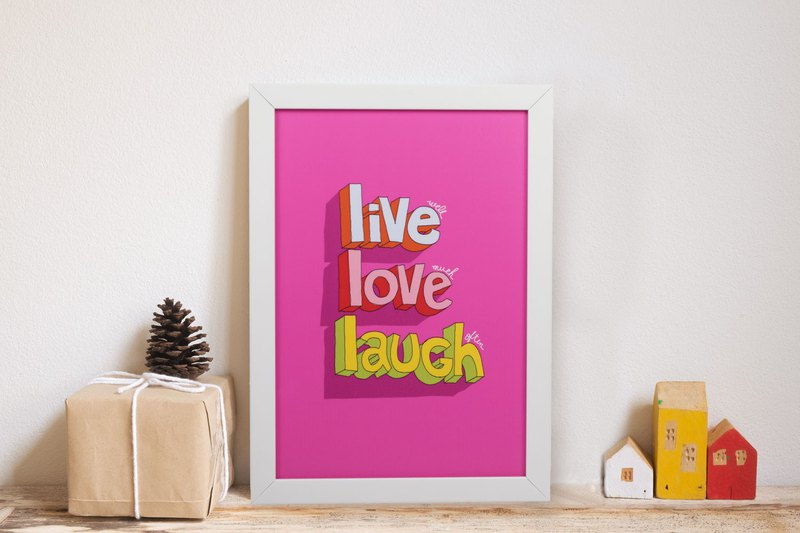Magnet plate Love love the way to live paintings murals room decoration living room decoration pink