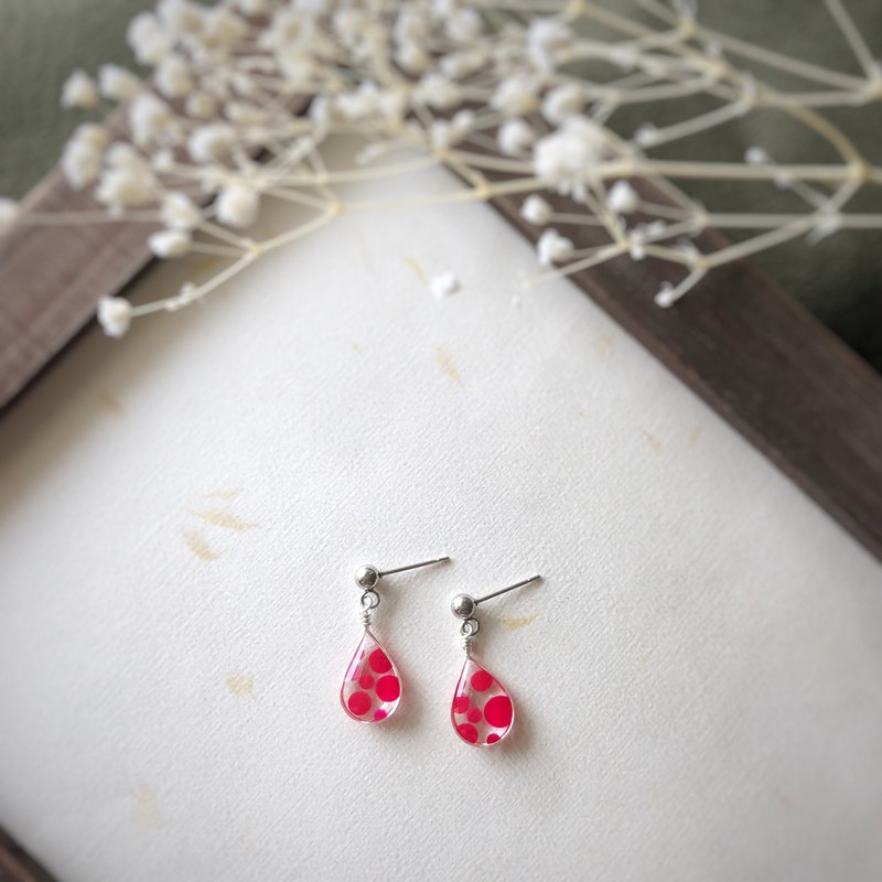 Polka Dot Drop Earrings - Red