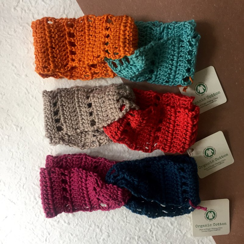 Organic cotton crochet duo colour headband -vivid colour 2018