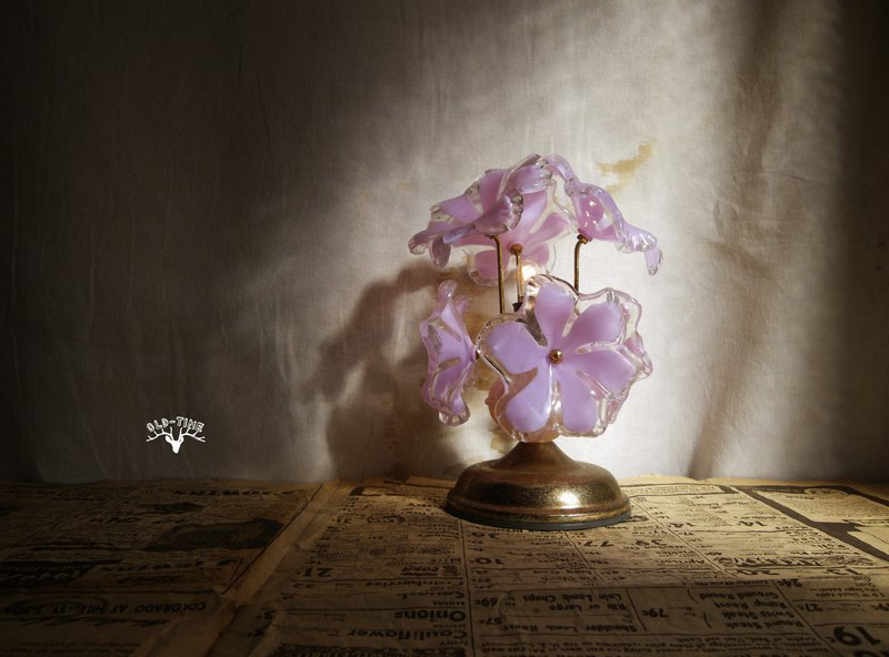 [Old Time OLD-TIME] Early Taiwanese export flower table lamp