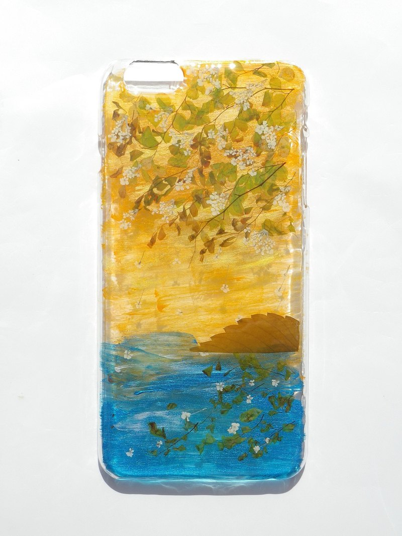 Pressed flowers phone case, Pressed flowers with Painting, iphone 6 plus phone case