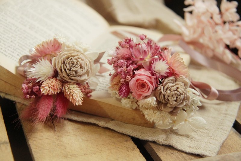 is the flower / peach pink bride bridesmaid wrist flower + corsage combination
