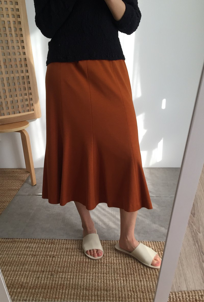 Pine Skirt Caramel Orange Multi-Piece Knit Flare Skirt L