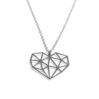 Abstract polygon heart shape pendant
