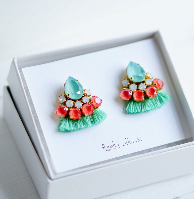 Silk and Swarovski post earrings / clip-on mint green
