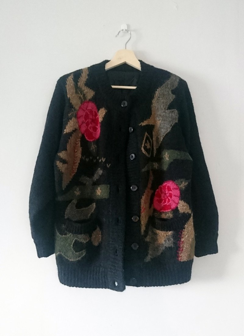 """Night Peony"" vintage - sweater coat"