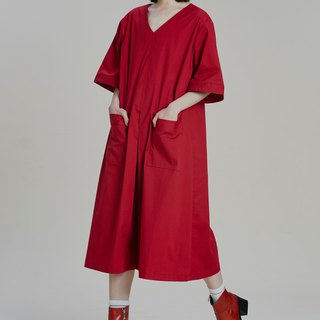 Shan Yong natural style loose A word red dress