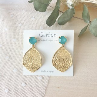 Leaf earrings turquoise blue
