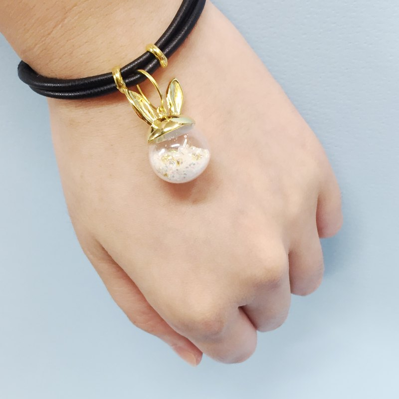 ❄Christmas Handmade Limited Edition: Snow Ball leather bracelet ❄Golden Rabbit Ears