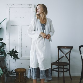 Syd and ling washed high-grade linen cardigan Japanese asymmetrical white coat simple design autumn