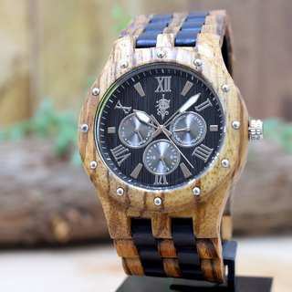 EINBAND Sand Zebra & Ebony 46mm Wooden Watch