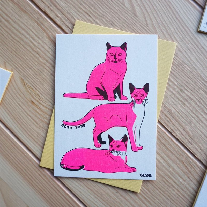 Hong Kong Cat Riso Printing Universal Card Greeting Card