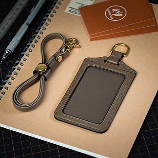 KH gray straight ID card holder, card holder, leisure card, ID card holder, Italian vegetable tanned leather Buttero