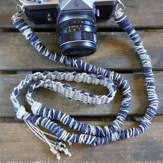 Denim split cloth hemp string hemp camera strap / double ring