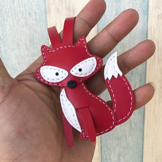 Leatherprince handmade leather Taiwan MIT red cute fox hand-stitched leather strap small size small size