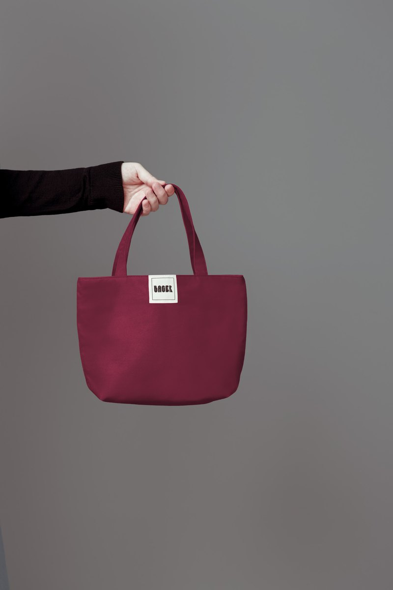 Simple plain canvas / tote bag / lunch bag / berry wine red