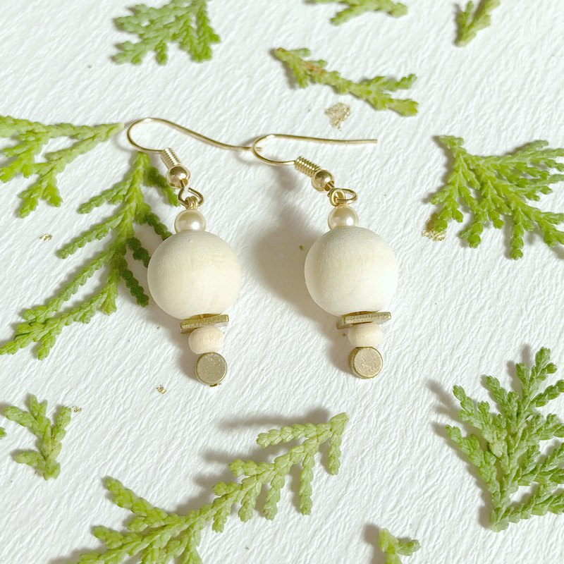 Will handstand snowman brass hand made earrings light yellow crystal pearl can change ear clip