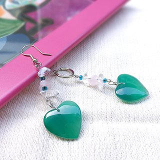 LIMITED romantic crystal long asymmetry earrings