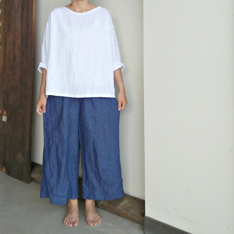 Linen single fold wide pants linen blue