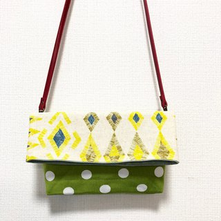 Long belt anti-folding cross-body bag - stitching Japanese imported flower cloth - yellow geometry + green dot